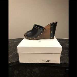 *NEW* See By Chloe Black Leather Studded Wedge